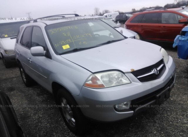 salvage car acura mdx 2002 silver for sale in east dundee il online