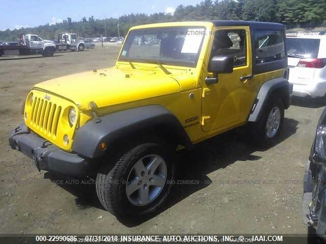 Salvage Car Jeep Wrangler 2015 Yellow for sale in Shirley MA