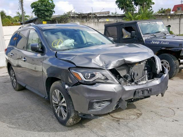 Salvage Car Nissan Pathfinder 2018 Gray for sale in MIAMI FL