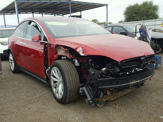 Salvage Car Tesla Model X 2017 Red For Sale In San Diego Ca