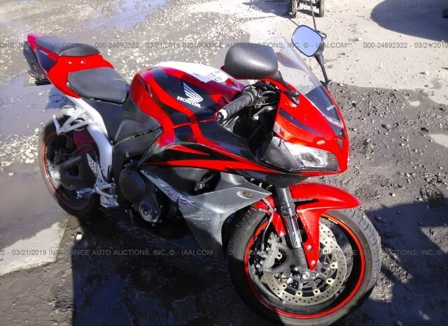 Salvage Motorcycle Honda Cbr600rr 2007 Red For Sale In Online Tx